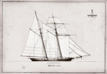 1814 Baltimore Schooner Midas pen ink study
